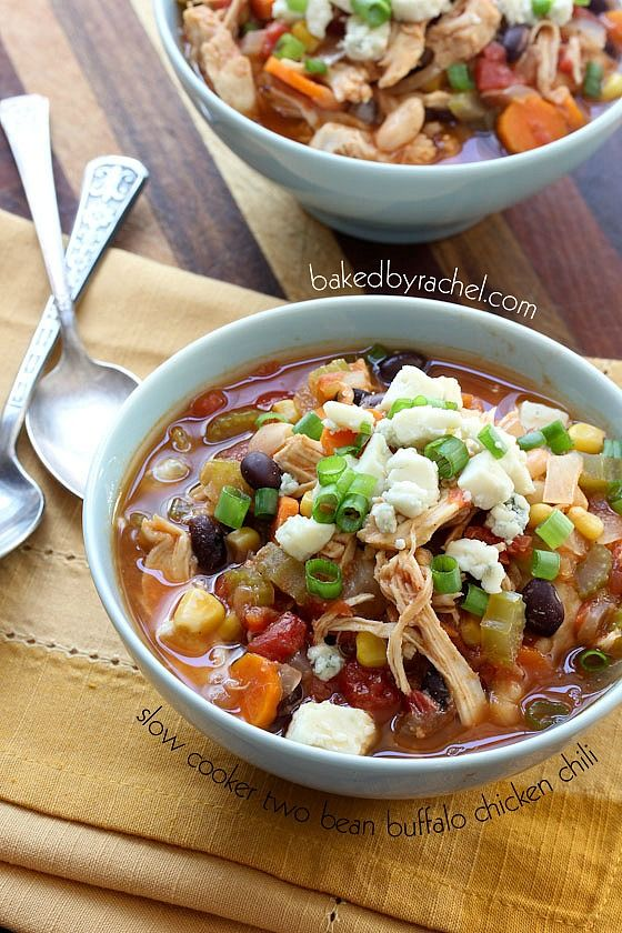 Slow Cooker Two Bean Buffalo Chicken Chili Recipe from ...
