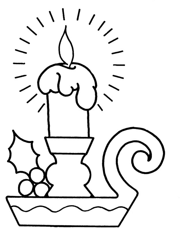 Candle Merry Christmas Cute Coloring Page - Christmas ...
