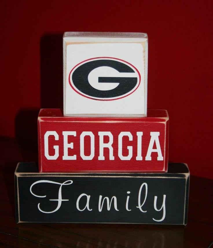 Hand Painted UGA Georgia Bulldogs Family Blocks; do it with Florida logo and colors