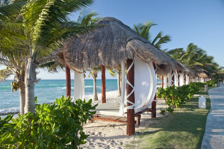 A beach bed on the shore of the Riviera Maya at El Dorado Royale.  The EDR feels like a second home to me.   I truly feel fulfilled every visit.  <3!!!: Rivieramaya,  Thatched Roof, Vacation, Dorado Royals, Gold, Honeymoons, Riviera Maya, Dorado Royale, Spa Resorts