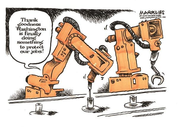 Jimmy Margulies - Politicalcartoons.com - Robots in the workforce color - English - Robots in the workforce, Robots, jobs, employment, automation, job losses, Jobs and immigrants, job outsourcing, efforts to protect American jobs