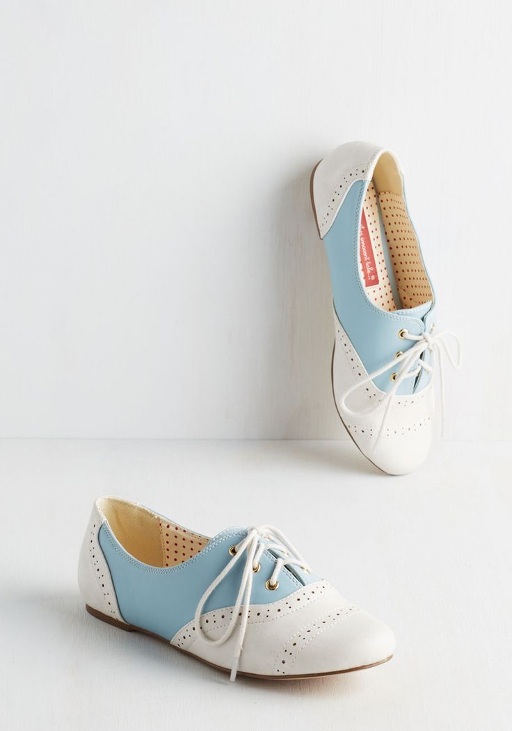 Soft Blue Shuffle Flat. Dance your way through every day in these adorable vegan faux leather oxfords by Bait Footwear! #blue #modcloth
