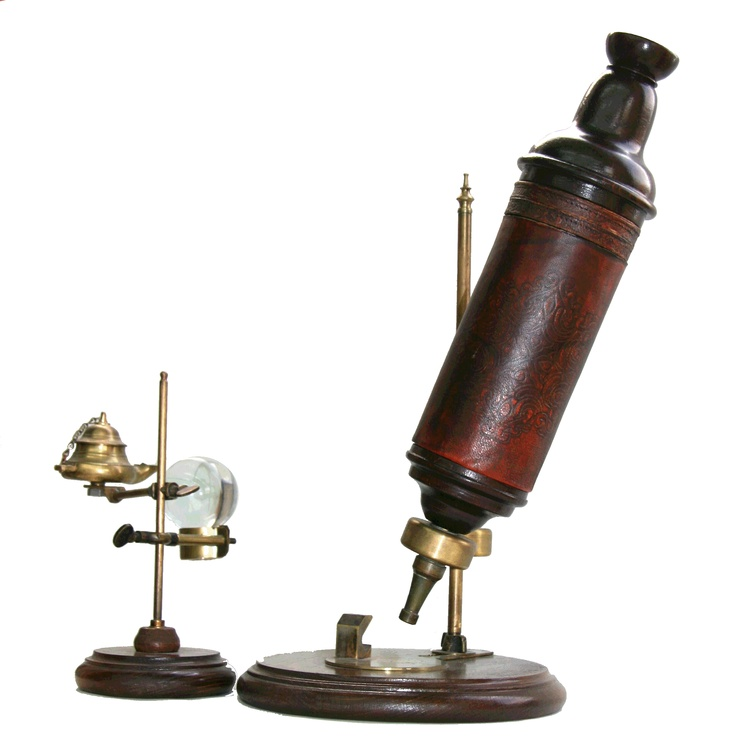 Robert Hooke Microscope designed by Christopher Cock, 1670.