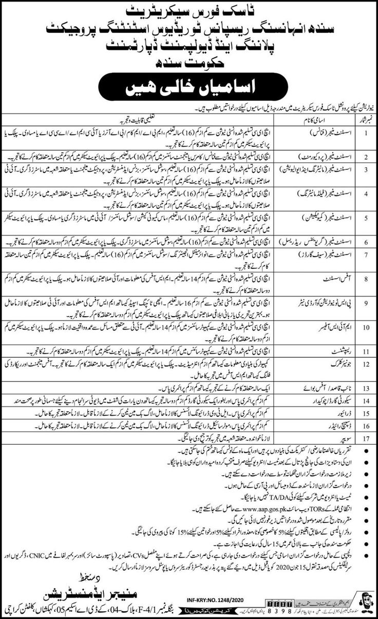 Jobs in Task Force Sindh Jobs 2020 in 2020 Contract jobs