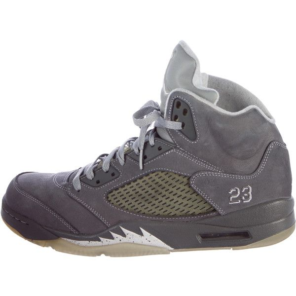 Pre-owned Nike Air Jordan 5 Retro Sneakers ($245) ❤ liked on Polyvore  featuring men's fashion, men's shoes, men's sneakers, white, mens gray  dress shoes, ...