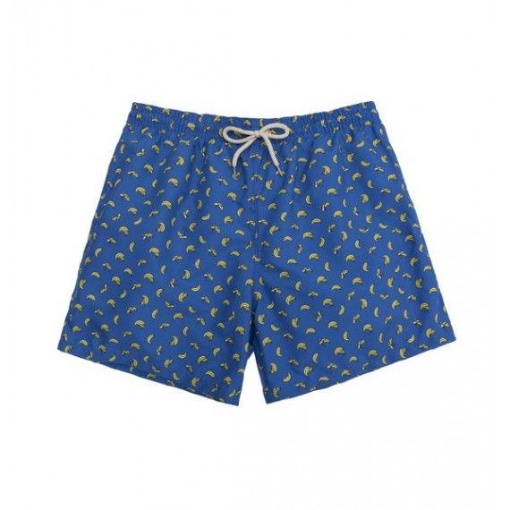 blue bananas swim short / bañador azul oscuro con plátanos amarillos