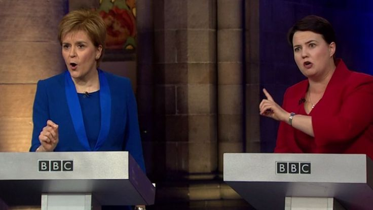 Nicola Sturgeon and Ruth Davidson trade blows on independence and immigration in a BBC TV debate.