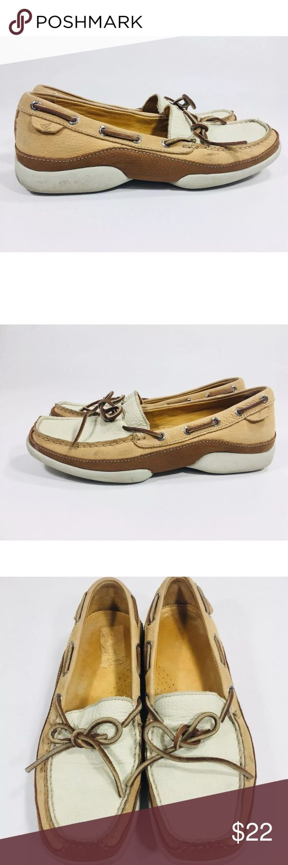 Sperry Boat shoes Men's leather Shoes size 9 Sperry Boat shoes Cream / Tan / Brown Men's leather Slip-on Shoes size 9 Ties Sperry Shoes Boat Shoes