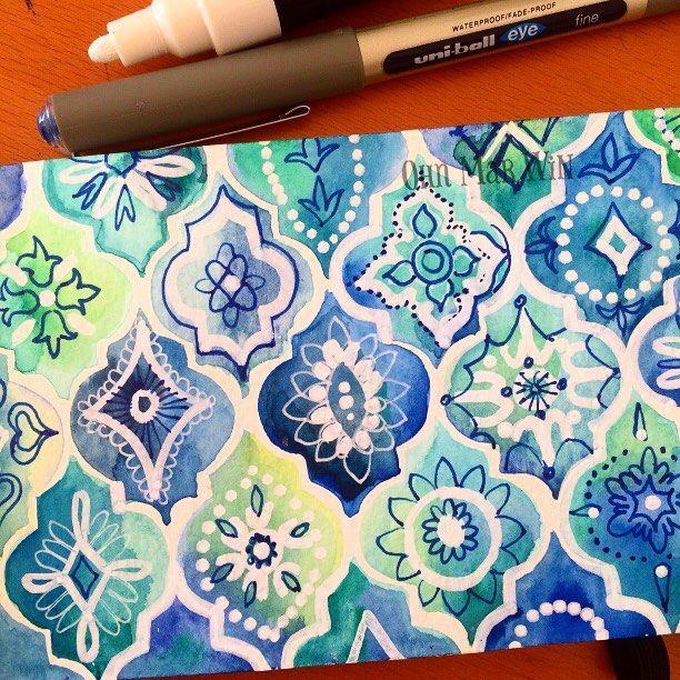 "2,668 Likes, 38 Comments - Ohn Mar Win (@ohn_mar_win) on Instagram: ""When in doubt do geometrics !  #sketchbook #sketchaday2016 #watercolors #artdaily  #ohnmarwin…"""