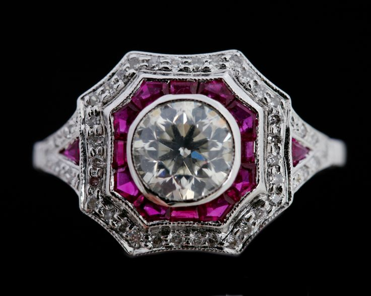 Intense Rubies and brilliant cut Diamonds in 18 carat white gold