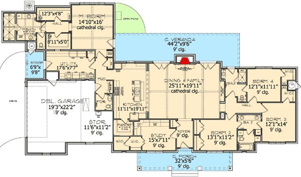 plan 33537eb: captivating estate home plan | country houses, ranch