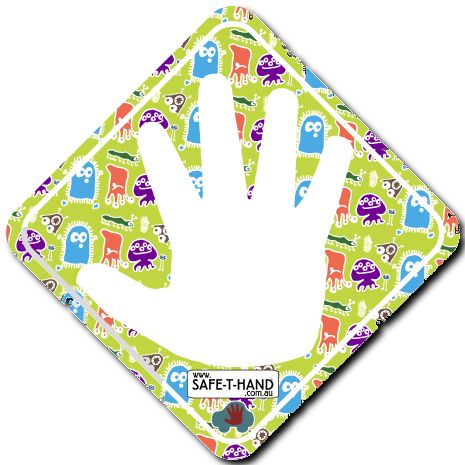 MONSTERS Safe-T-Hand Mini Car Magnet.  Safe-T-Hand Mini's are compactly sized at 12cm x 12cm. They fit into your pocket, handbag and glove box - GRAB & GO! They arrive in cardboard Travel Wallets (14cm x 12.5cm) for flat, clean storage when not in use (e.g. when washing the car). All instructions and a visual aid are printed inside. #teach #road #safety #safethandmini #educate #fun