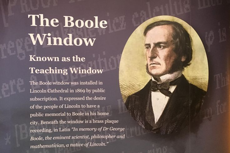 Permanent display beneath the window in Lincoln Cathedral's George Boole commemoration of 1869