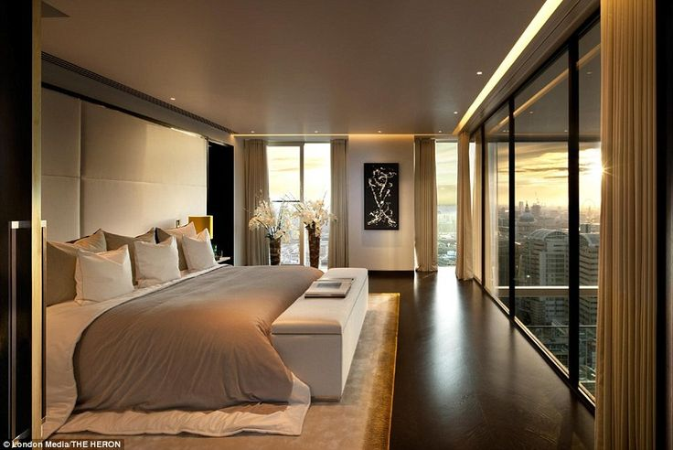 The south-facing four-bedroom penthouse, which is split over two floors, includes a large cinema room and marble floors and is on the market for a whopping £18million