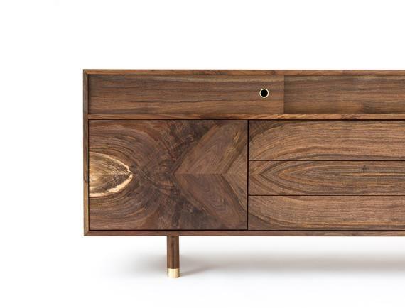 Mid Century Modern Walnut Credenza Made To Order Solid Wood Etsy Mid Century Modern Credenza Modern Walnut Credenza Mid Century Credenza
