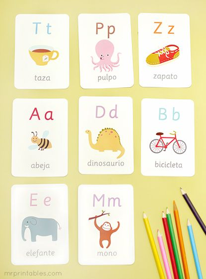 Tarjetas del alfabeto ilustradas para imprimir                                                                                                                                                                                 Más