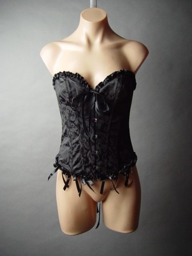 Black Corset Lace Up Bustier Brocade Belle Epoque Victorian Goth Burlesque Top L | eBay