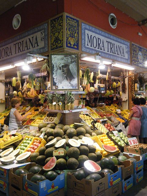 Market, Triana, Seville, Spain. Love the tile marking this space!