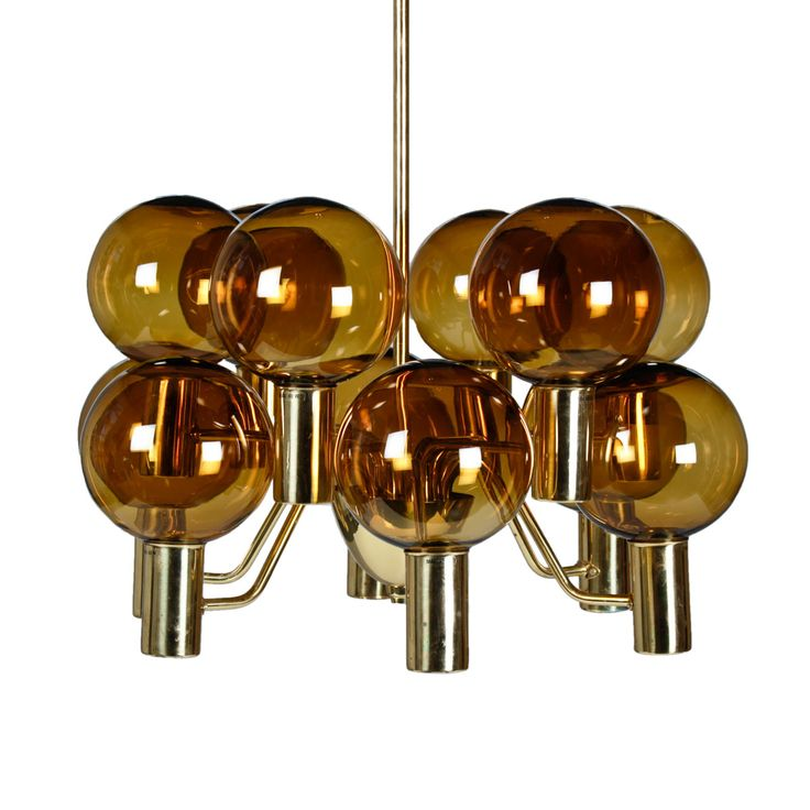 """Chandelier """"Patricia"""" by Hans-Agne Jakobsson in brass with smoked glass shades."""