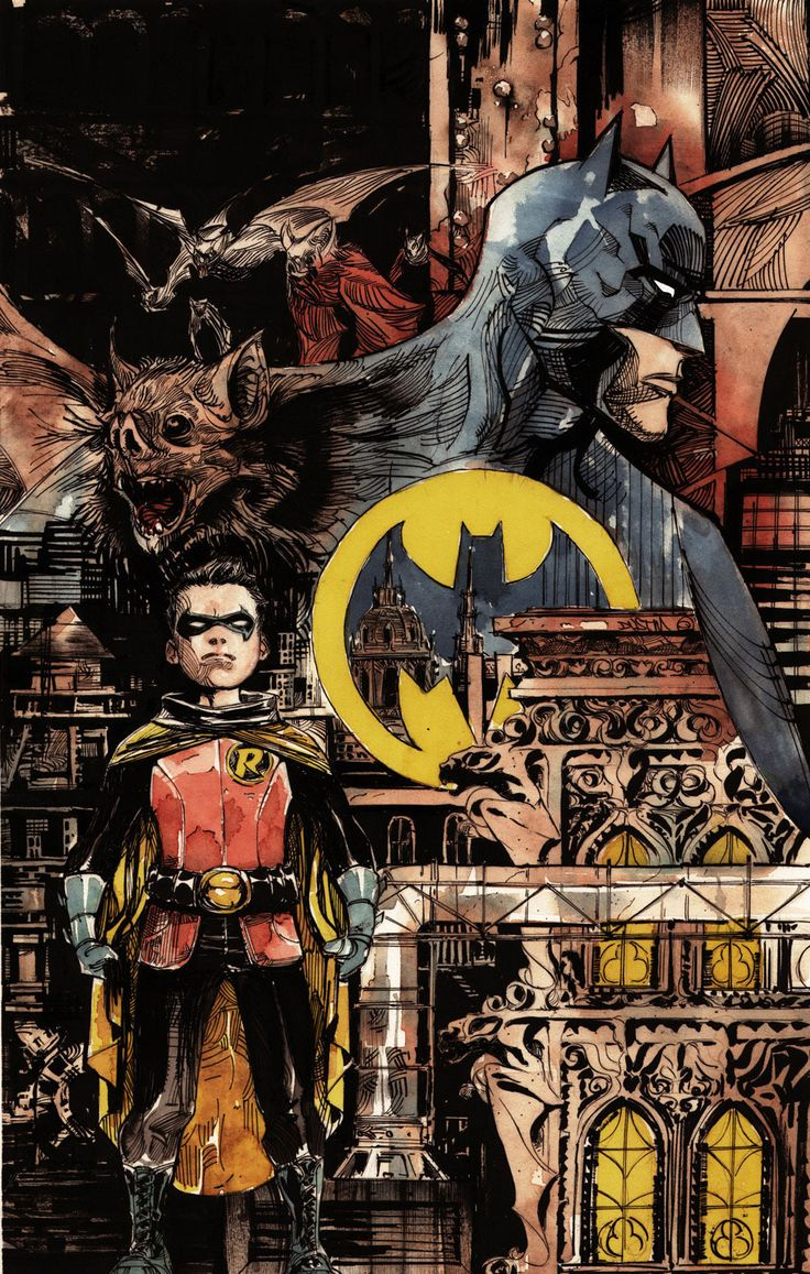 Batman's City - Batman (Dick Grayson) and Robin (Damien Wayne)