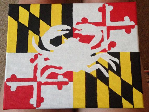 Shape of crab in Maryland flag pattern; acrylic canvas painting