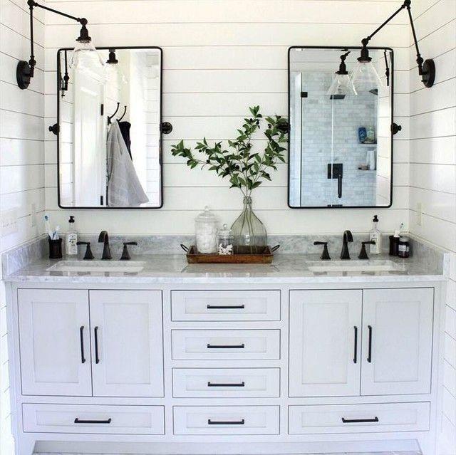 Vintage Rounded Rectangle Pivot Mirror Bathroom Farmhouse Style Black White Bathrooms Modern Farmhouse Bathroom Pivot mirrors for bathroom