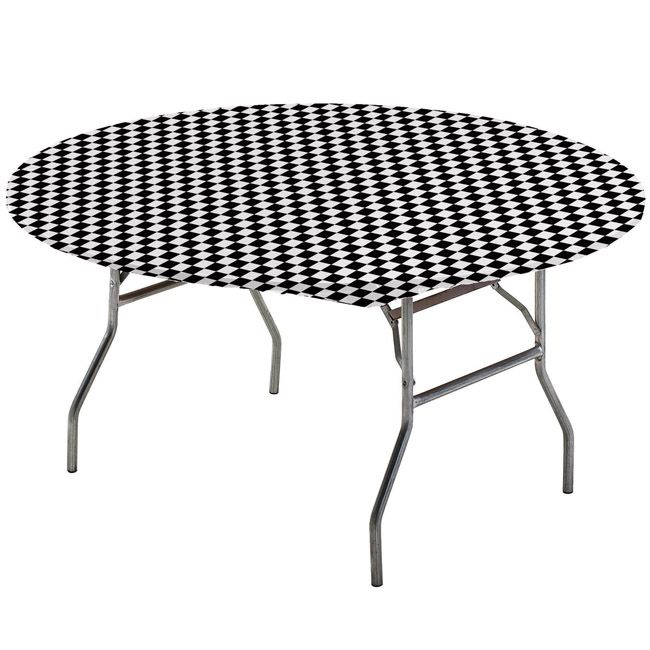 Black Checker Round Stay Put Elastic Fitted Tablecloth Table