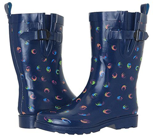 Capelli New York Swirl Dots Print Ladies Rain Boots Navy Combo 8 * Be sure to check out this awesome product.