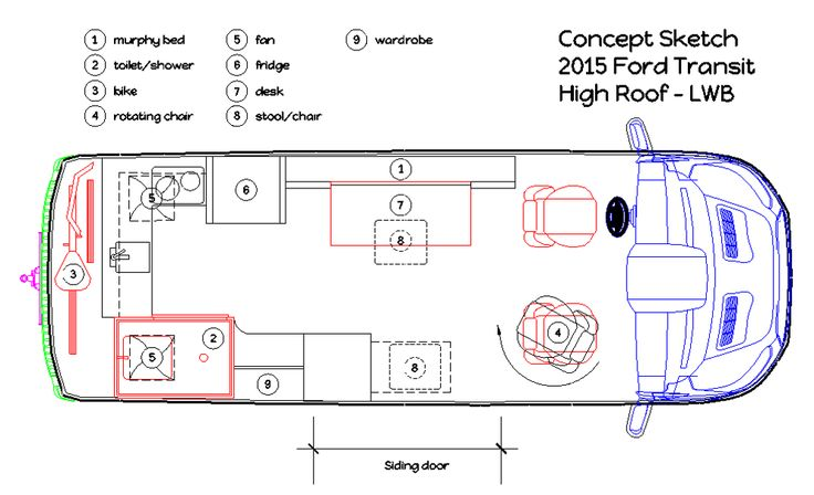 The actual layout plans for a luxury cargo van conversion for Diy floor plan online