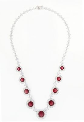 Attwood & Sawyer Windsor roulette collar necklace with ruby red zirconia