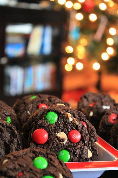 Dark Chocolate Peppermint M&M Cookies | My Baking Addiction