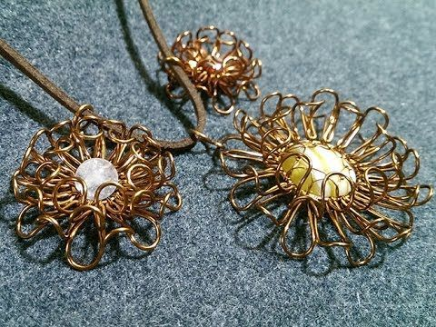 How to make wire chrysanthemum flower pendant ( Full and English subtitles)