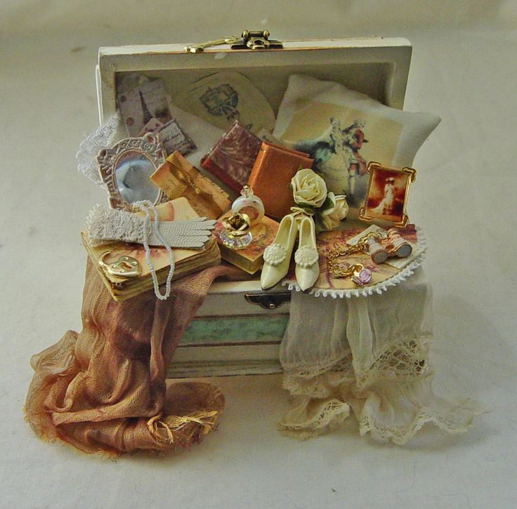 An Antique White Ladies Filled Trunk By Val Harper