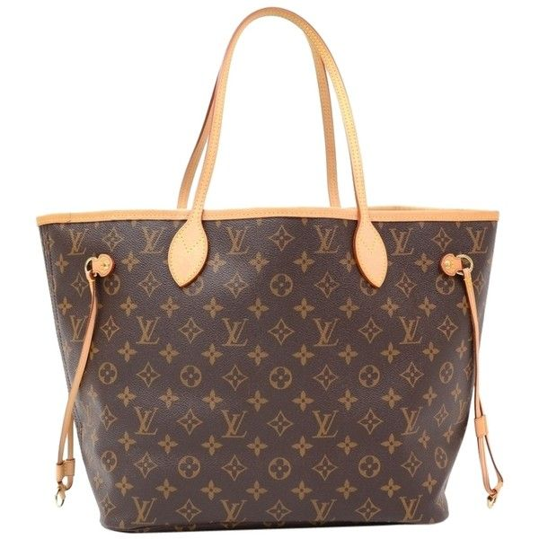 Pre-owned Louis Vuitton Neverfull Mm Monogram Canvas Tote Shoulder Bag ($1,225) ❤ liked on Polyvore featuring bags, handbags, tote bags, brown, louis vuitton handbags, louis vuitton pouch, canvas tote bags, monogrammed tote bags and brown tote bags