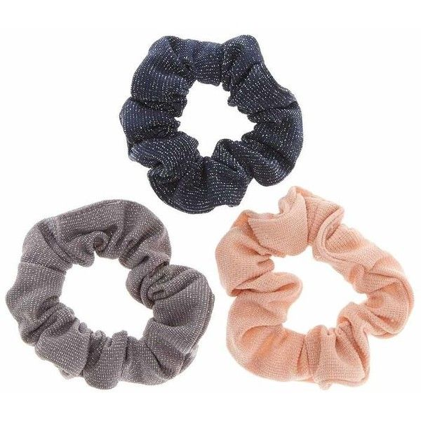 Silver Tinsel Hair Scrunchies ($4.99) ❤ liked on Polyvore featuring accessories, hair accessories, silver hair accessories and scrunchie hair accessories