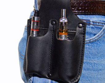 Leather Belt Pouch, Dual Vape Case, black Leather E-Cig Belt Holster * Ecig Holder,Black Leather * Dual E-Cig Case * Dual Vape Holster