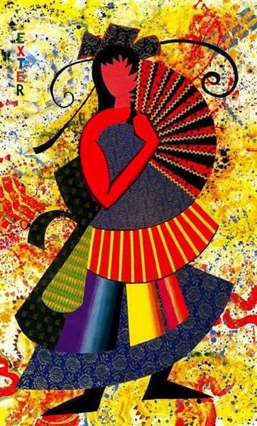 Alexandra Exter (My Fan is Half a Circle), 1994 by Miriam Schapiro. Cubism…