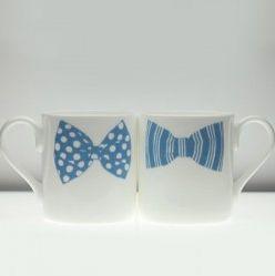 Gay Couple Gift- Bowtie Mug Set