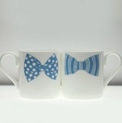Gay Couple Gift- Bowtie Mug Set