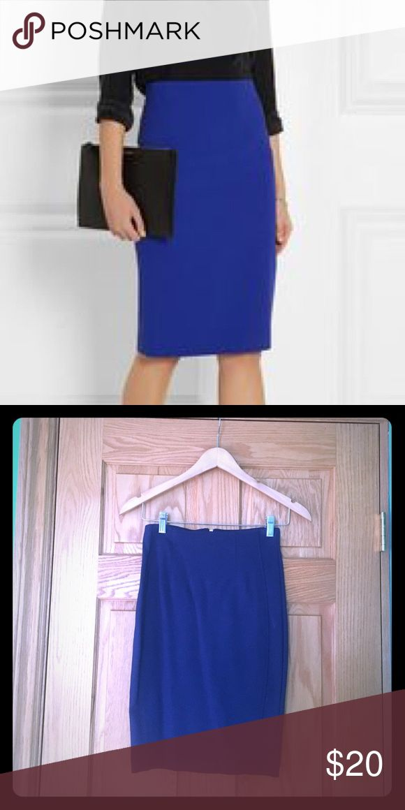 HAVE Women's Blue Pencil Skirt size small HAVE Zip up blue pencil skirt with modest slit in back. Worn once , dry cleaned only! Size small. Hits just past the knees. HAVE Skirts Pencil