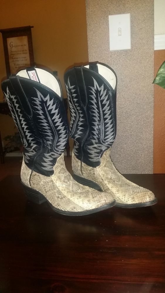 5cb2a853ca1 men's amazonas Cowtown snake skin and leather boots made in America ...