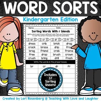 Word sorts help children organize and classify words so that relationships among words can be seen. These 37 word sorts contain all the spelling patterns kindergartners need to know. Students color the words that follow the same patterns the same color and write them in the correct column.