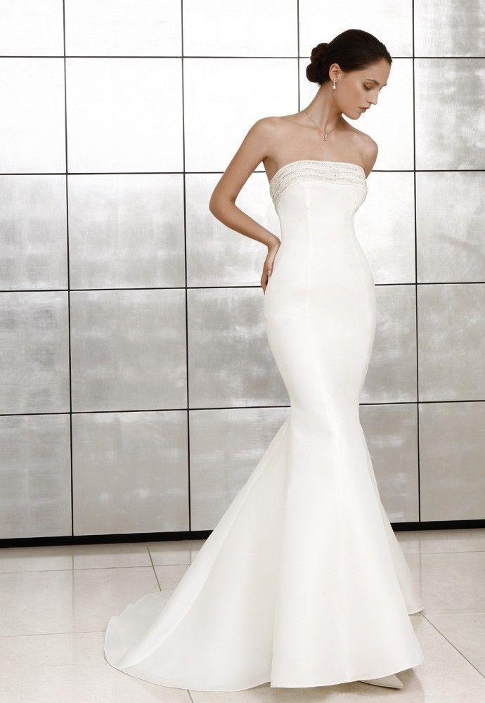 Satin Mermaid Strapless Beaded Straight Neckline Wedding Dress