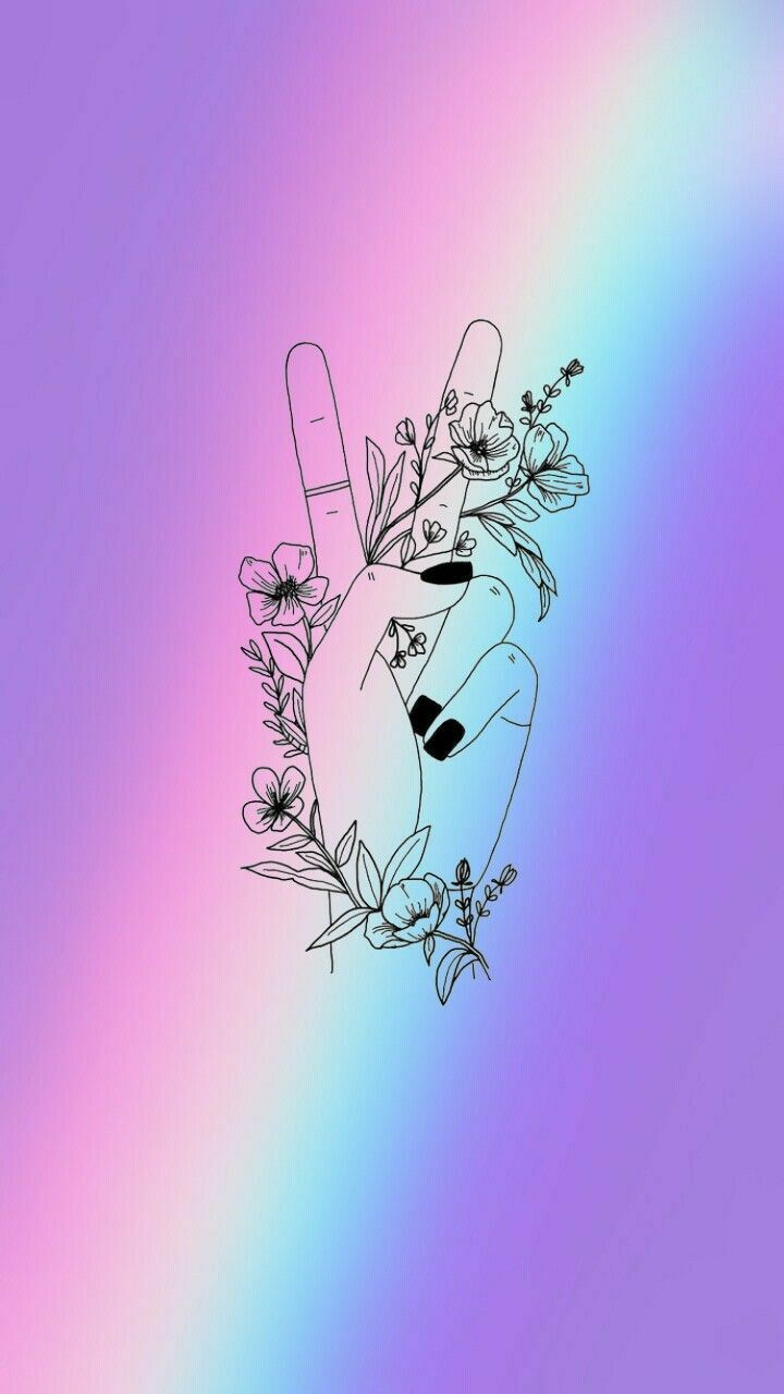 lockscreen aesthetic flowers peacesign Peace sign