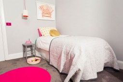 A neutral carpet colour creates the backdrop for for bold pops of colour in this gorgeous girl's bedroom created by The Home Team on Channel 10. Get the look with the eco+ Sunrise in Summer Tone.  #diy #eco+ #ecopluscarpet #thehometeamtv #renovation #channel10