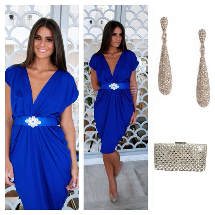 This elegant royal blue wrap dress is available to buy for €99 ...