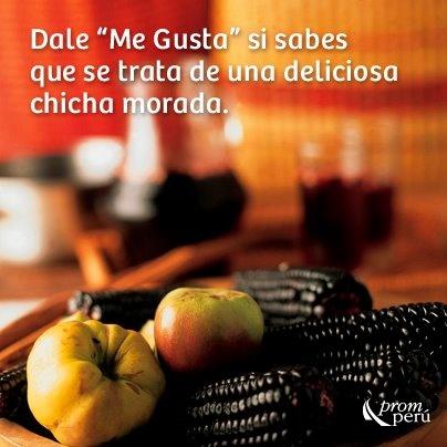 ¿Qué te parece un rico refresco dulce a base de maíz morado hervido con canela y clave de olor para acompañar tu almuerzo? — con Autor: Manchamanteles. Peru