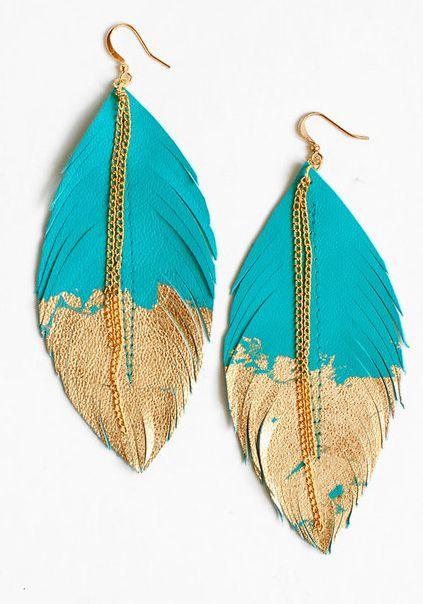 Zalando ♥ Bijoux et accessoires // Boucles d'oreilles plume turquoise