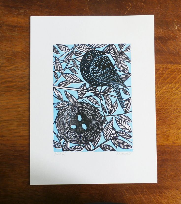 Starling, by Kat Lendacka, Original Linocut Print, Signed Open Edition, Free Postage in UK, Hand…