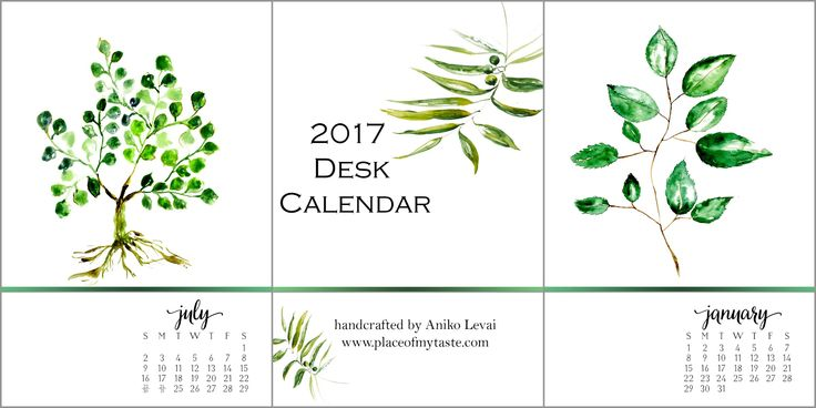 2017 Desk Calendar. So pretty! You will love these gorgeous watercolor desk calendars. Display them the way you like them!